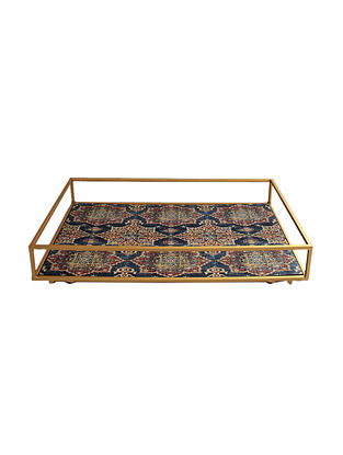 Harbour Blue-Multicolor Handcrafted Wood Tray (L - 16.2in, W - 10.2in, H - 2in)