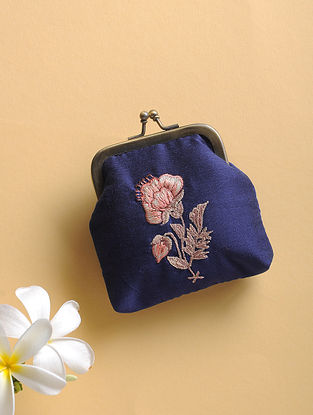 Blue Quilted Thread-Embroidered Cotton Silk Coin Purse