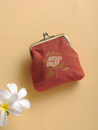 Red Quilted Thread-Embroidered Cotton Silk Coin Purse
