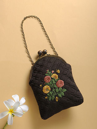 Black Quilted Thread-Embroidered Cotton Silk Sling Bag