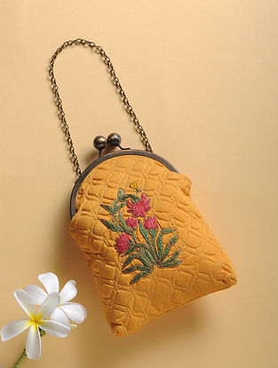 Mustard Quilted Thread-Embroidered Cotton Silk Sling Bag