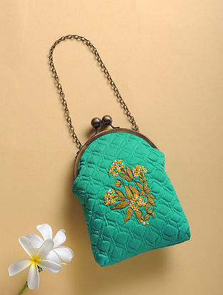 Green Quilted Thread-Embroidered Cotton Silk Sling Bag