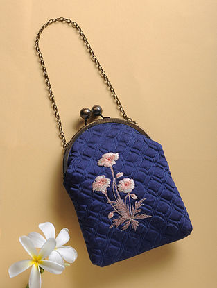 Blue Quilted Thread-Embroidered Cotton Silk Sling Bag
