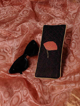 Black Quilted Thread-Embroidered Cotton Silk Spectacle Case