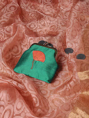 Green Quilted Thread-Embroidered Cotton Silk Coin Purse