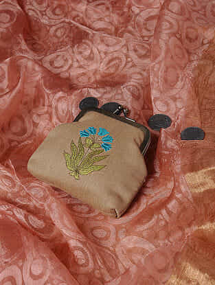 Beige Quilted Thread-Embroidered Cotton Silk Coin Purse