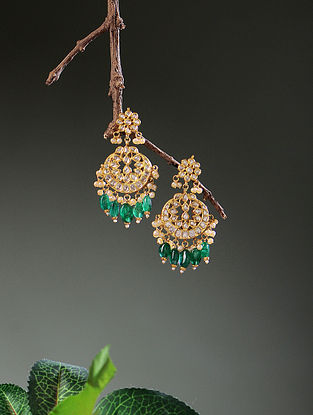 Green-Blue Enameled Diamond Polki Gold Earrings with Emerald