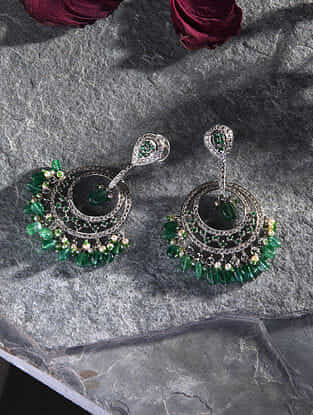 Emerald and Diamond Gold Earrings