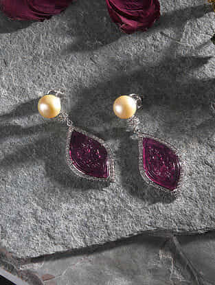 Rubellite and Diamond Gold Earrings