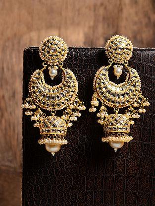 Diamond Polki Gold Jhumkis with South Sea Pearls