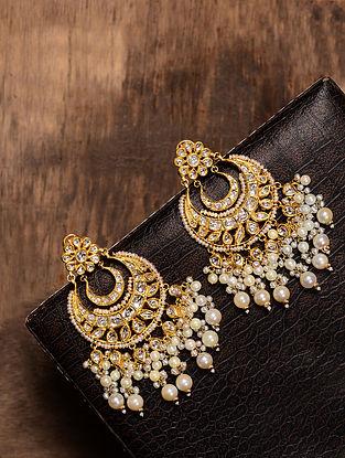 Diamond Polki Gold Earrings with Pearls