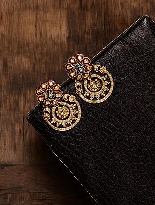 Red-Blue Enameled Diamond Polki Gold Earrings