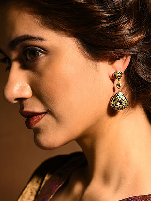 Black Enameled Diamond Polki Gold Earrings