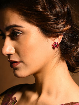 Ruby and Diamond Gold Earrings