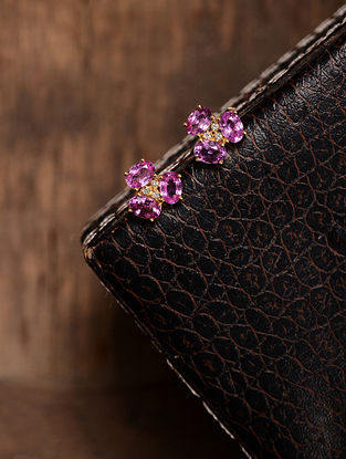 Pink Sapphire Gold Earrings