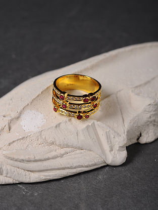 Ruby and Diamond Gold Ring (Ring Size - 6.5)