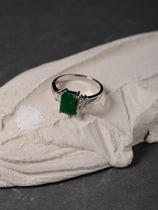 Emerald and Diamond Gold Ring (Ring Size - 6)