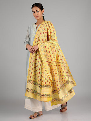 Yellow-Red Block Printed Silk Cotton Dupatta with Zari Border