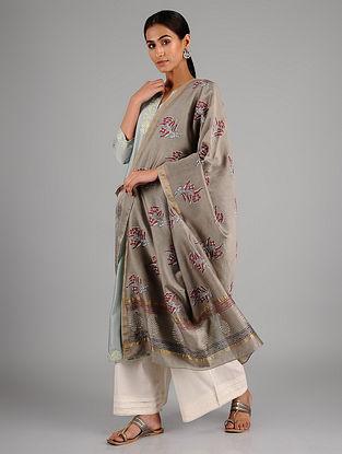 Grey-Maroon Block Printed Silk Cotton Dupatta with Zari Border