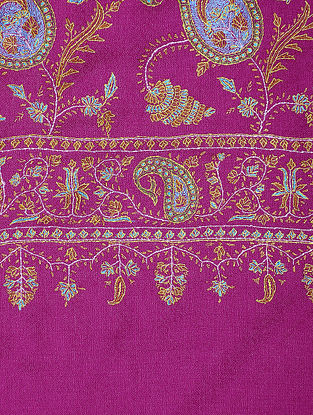 Magenta-Blue Hand-embroidered Pashmina/Cashmere Shawl