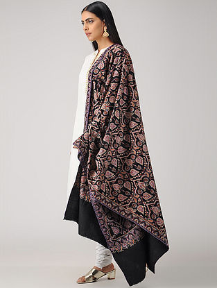 Black-Purple Sozni-embroidered Pashmina/Cashmere Shawl
