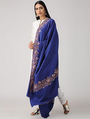 Blue-Purple Hand-embroidered Paper-mache Pashmina/Cashmere Shawl