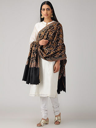 Black-Orange Sozni-embroidered Pashmina/Cashmere Shawl