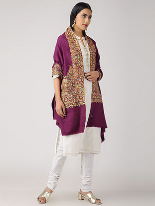 Purple-Orange Sozni-embroidered Pashmina/Cashmere Shawl