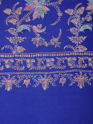 Blue-Peach Sozni-embroidered Pashmina/Cashmere Shawl
