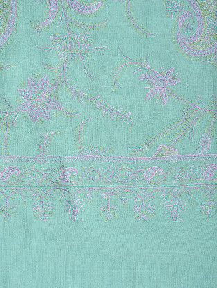 Blue-Purple Hand-embroidered Pashmina/Cashmere Shawl