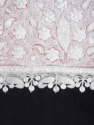 Red-White Tilla-embroidered Pashmina/Cashmere Shawl
