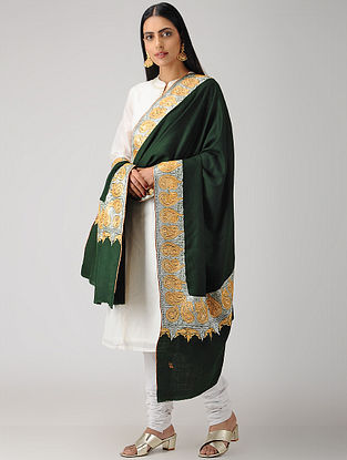 Green Tilla-embroidered Pashmina/Cashmere Shawl