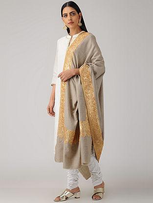 Grey Tilla-embroidered Pashmina/Cashmere Shawl