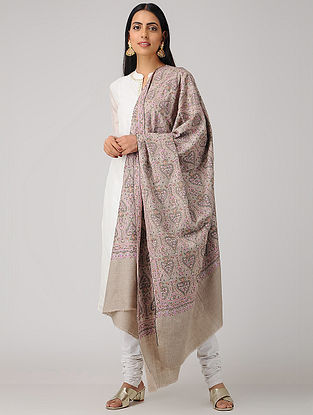 Grey-Pink Sozni-embroidered Pashmina/Cashmere Shawl