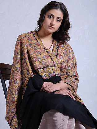 Black-Yellow Hand-embroidered Jamawar Pashmina/Cashmere Shawl