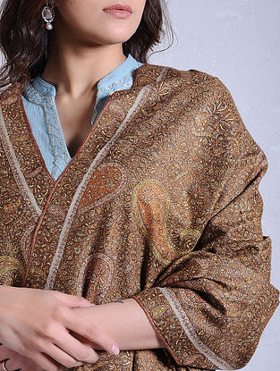 Beige-Brown Hand-embroidered Jamawar Pashmina/Cashmere Shawl