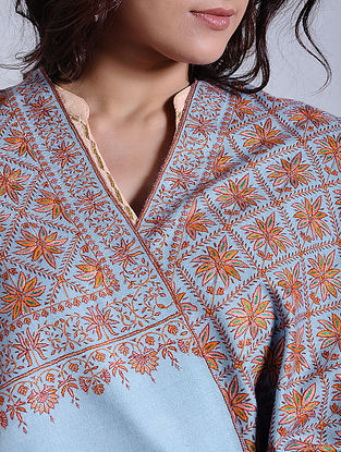 Blue-Orange Hand-embroidered Jamawar Pashmina/Cashmere Shawl