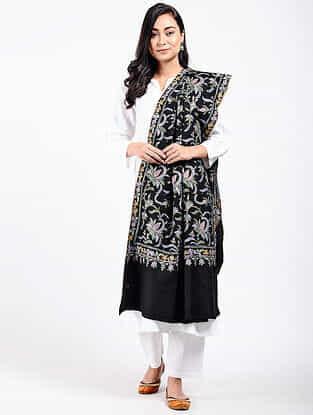 Black-Blue Sozni-embroidered Pashmina Shawl