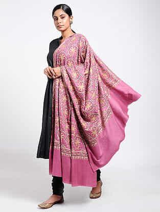 Pink-Yellow Sozni-embroidered Pashmina Shawl