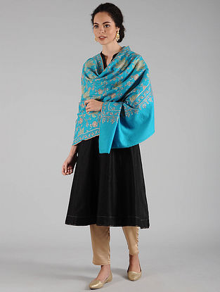 Turquoise Sozni Embroidered Pashmina Shawl