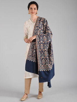 Blue-Ivory Sozni Embroidered Pashmina Shawl