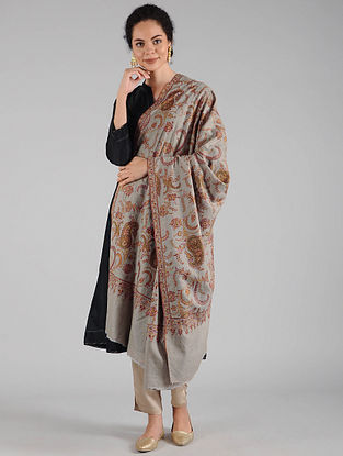 Grey Sozni Embroidered Pashmina Shawl