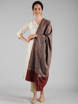 Red Sozni Embroidered Pashmina Shawl