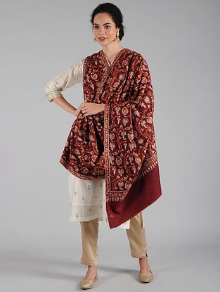 Maroon Sozni Embroidered Pashmina Shawl