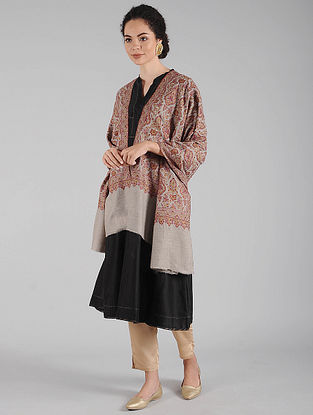 Grey-Brown Sozni Embroidered Pashmina Shawl