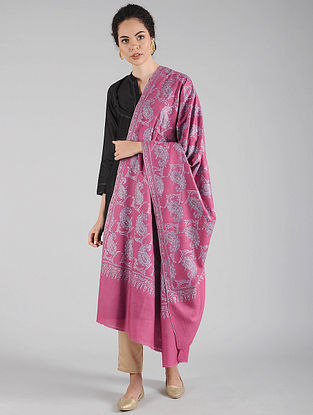 Pink Sozni Embroidered Pashmina Shawl