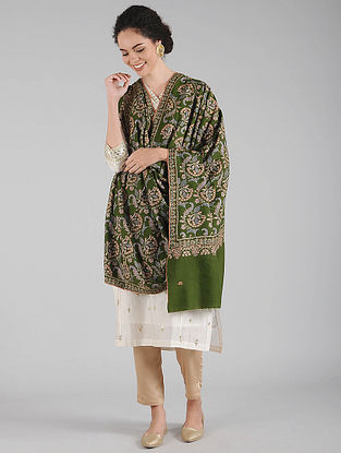 Green Sozni Embroidered Pashmina Shawl