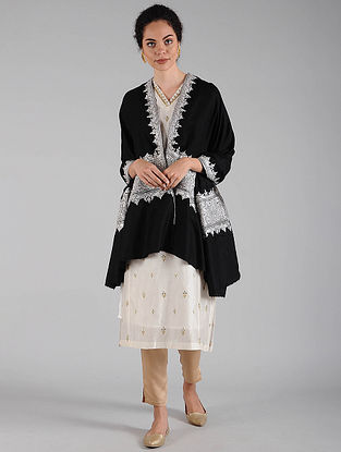 Black-Silver Tilla Embroidered Pashmina Shawl