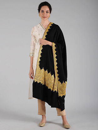 Black-Golden Tilla Embroidered Pashmina Shawl