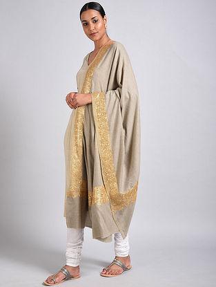 Ecru Tilla Embroidered Pashmina Shawl